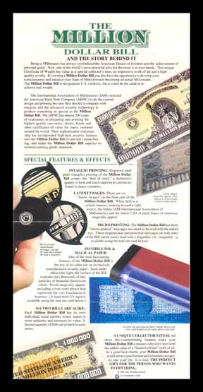 1988 promo material for American Bank Note Company miilion dollar bill
