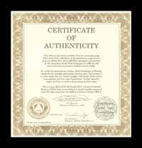 Certificate of authenticity for American Bank Note Company miilion dollar bill