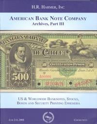 Cover Harmer American Bank Note Company sale part III