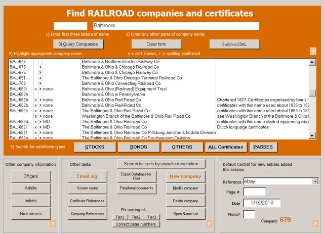 Main search screen in Coxrail database