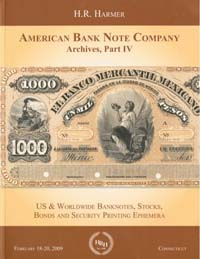 Cover Harmer American Bank Note Company Part IV sale catalog
