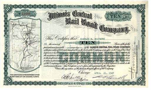 Illinois Central stock certificate
