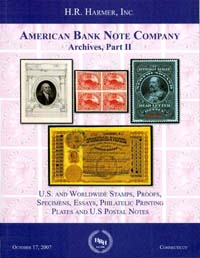 Cover Harmer American Bank Note Company sale, Part II