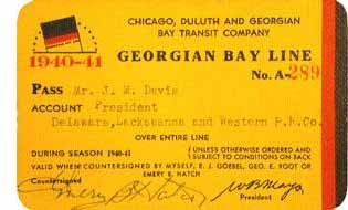 Pass for Georgian Bay Line