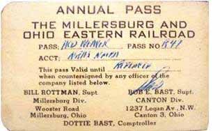 Club pass from Millersburg & Ohio Eastern Railroad